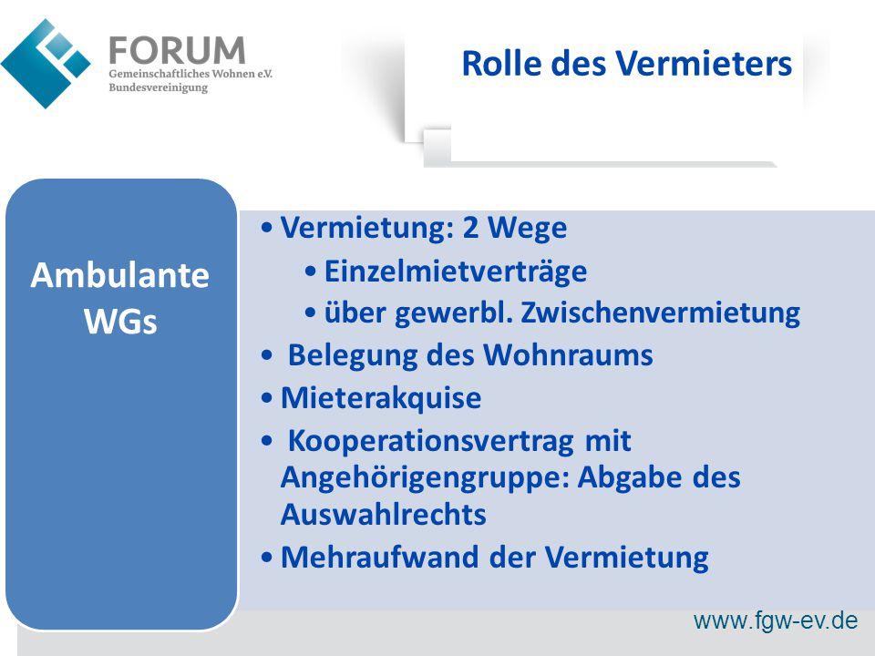 www.fgw-ev.de Rolle des Vermieters Vermietung: 2 Wege Einzelmietverträge über gewerbl.