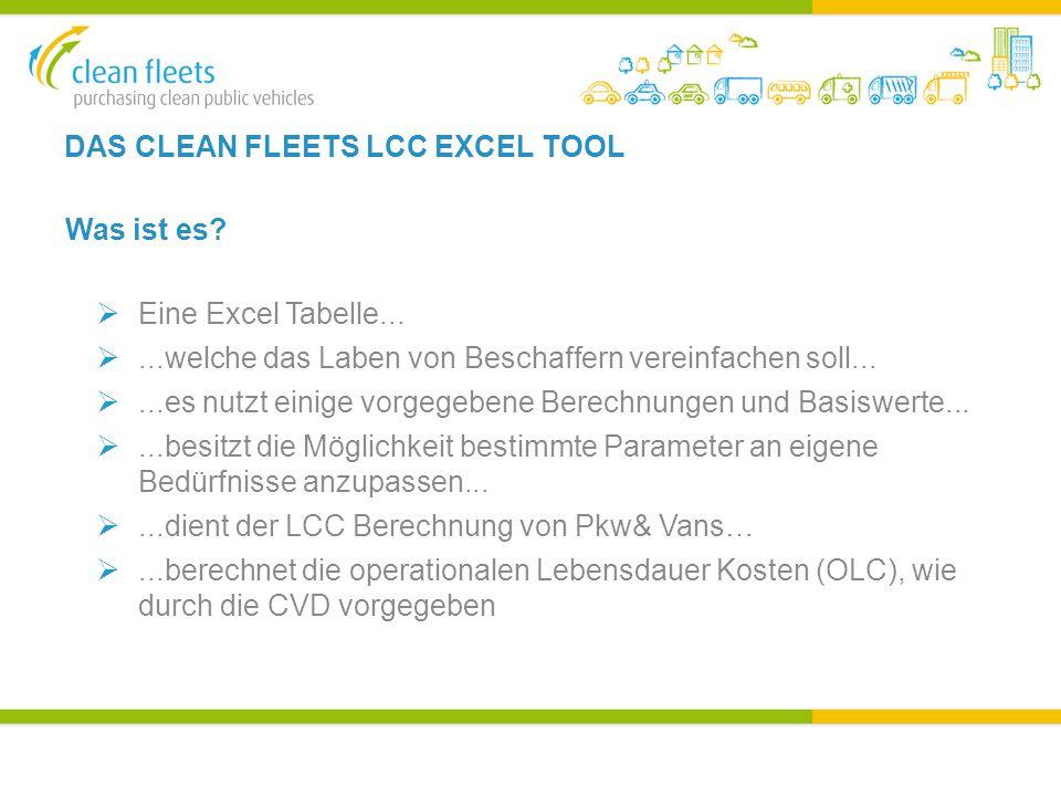 DAS CLEAN FLEETS LCC EXCEL TOOL Was ist es.  Eine Excel Tabelle...