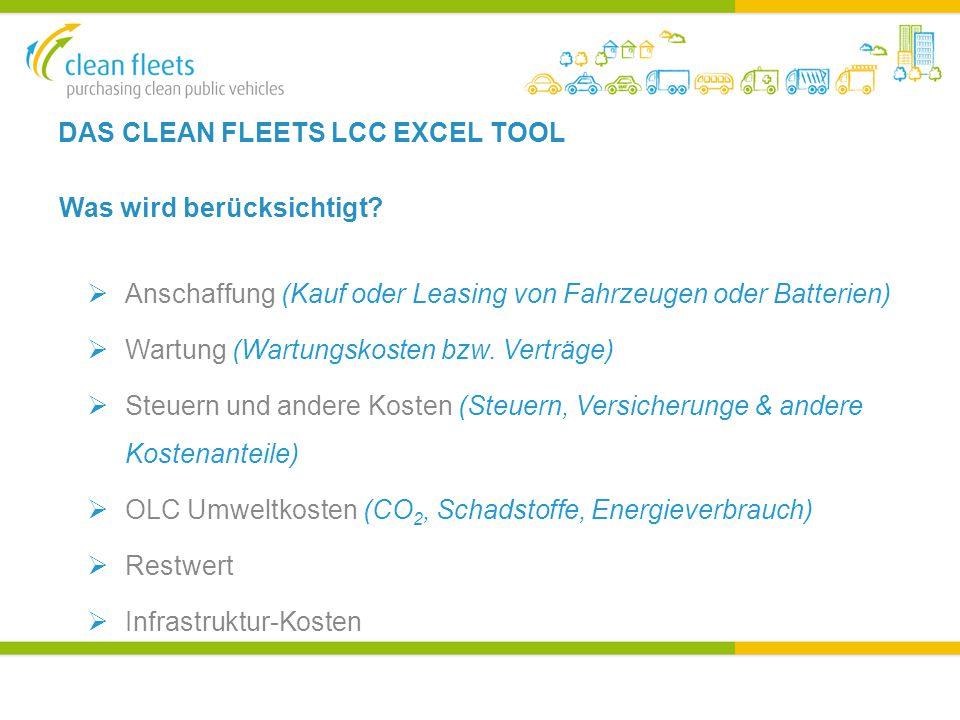 DAS CLEAN FLEETS LCC EXCEL TOOL Was wird berücksichtigt.