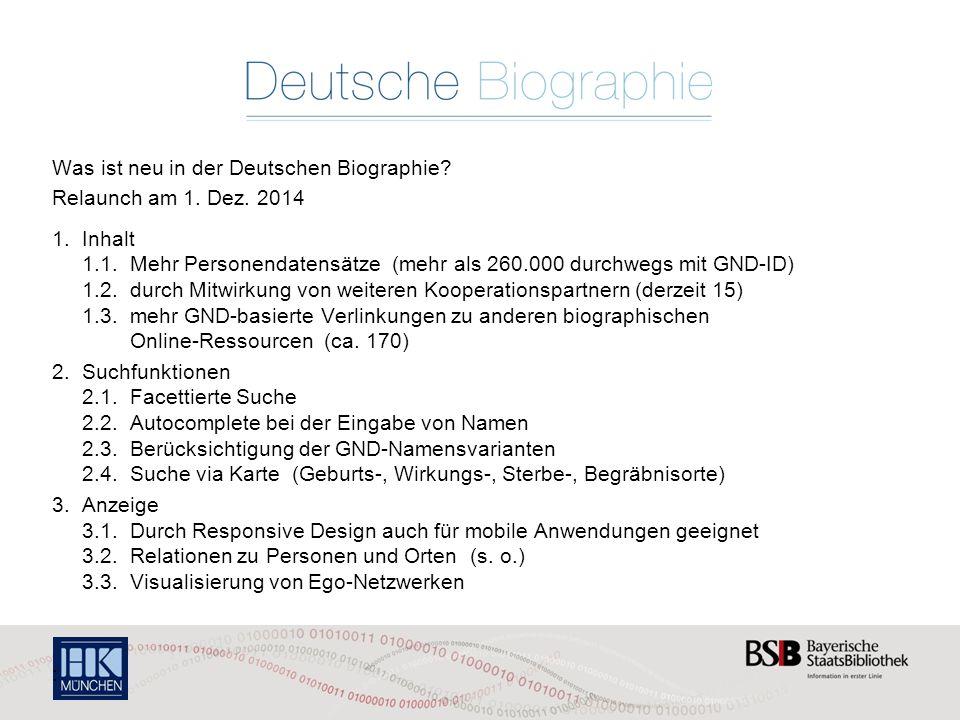 Was ist neu in der Deutschen Biographie.Relaunch am 1.