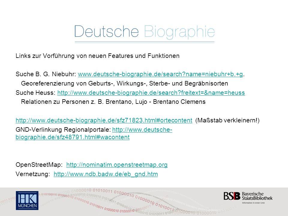Links zur Vorführung von neuen Features und Funktionen Suche B.