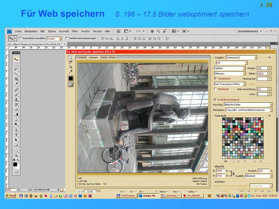 1. 26 Für Web speichern S. 196 – 17.5 Bilder weboptimiert speichern