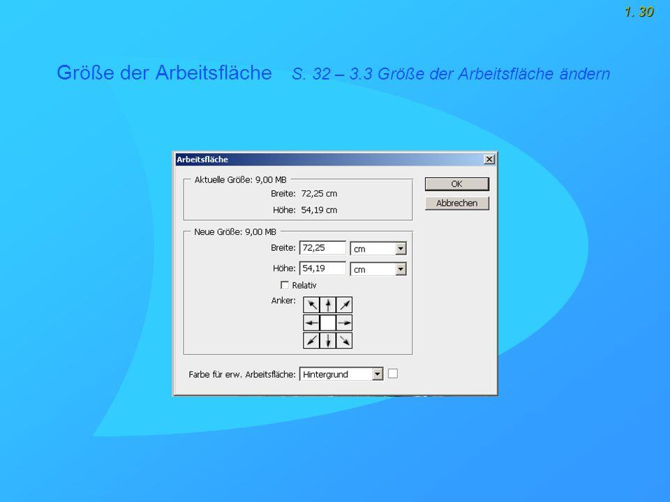 1. 30 Größe der Arbeitsfläche S. 32 – 3.3 Größe der Arbeitsfläche ändern