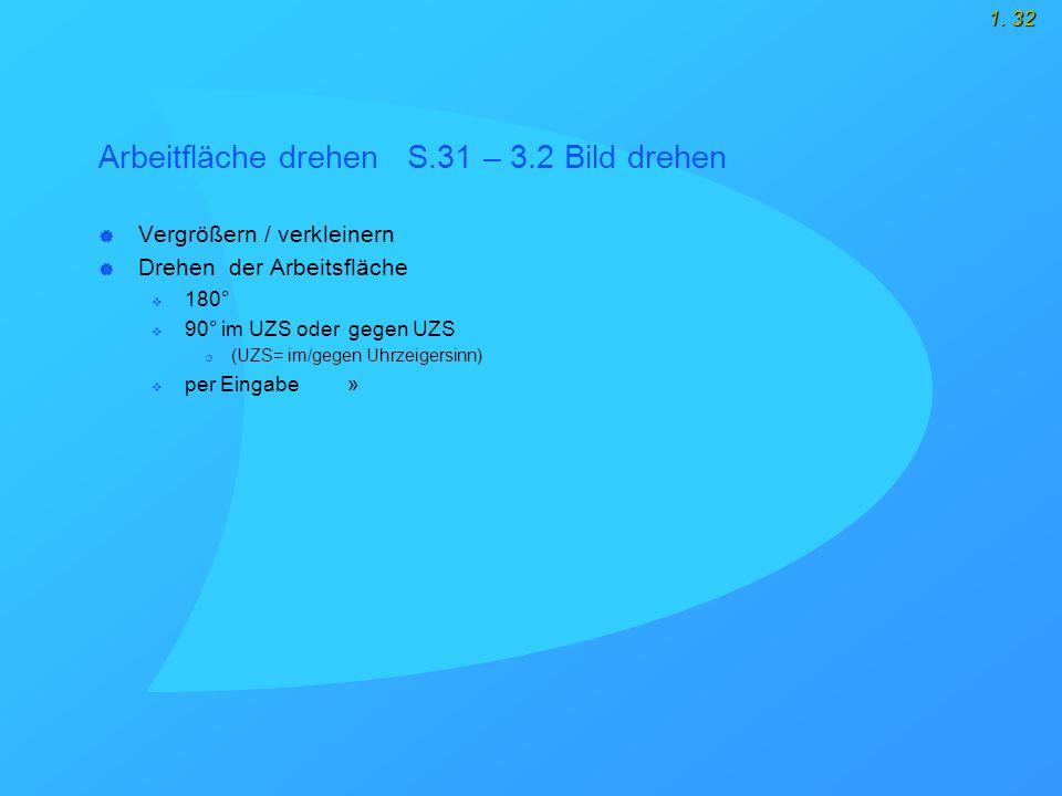 1. 32 Arbeitfläche drehen S.31 – 3.2 Bild drehen  Vergrößern / verkleinern  Drehen der Arbeitsfläche  180°  90° im UZS oder gegen UZS  (UZS= im/g