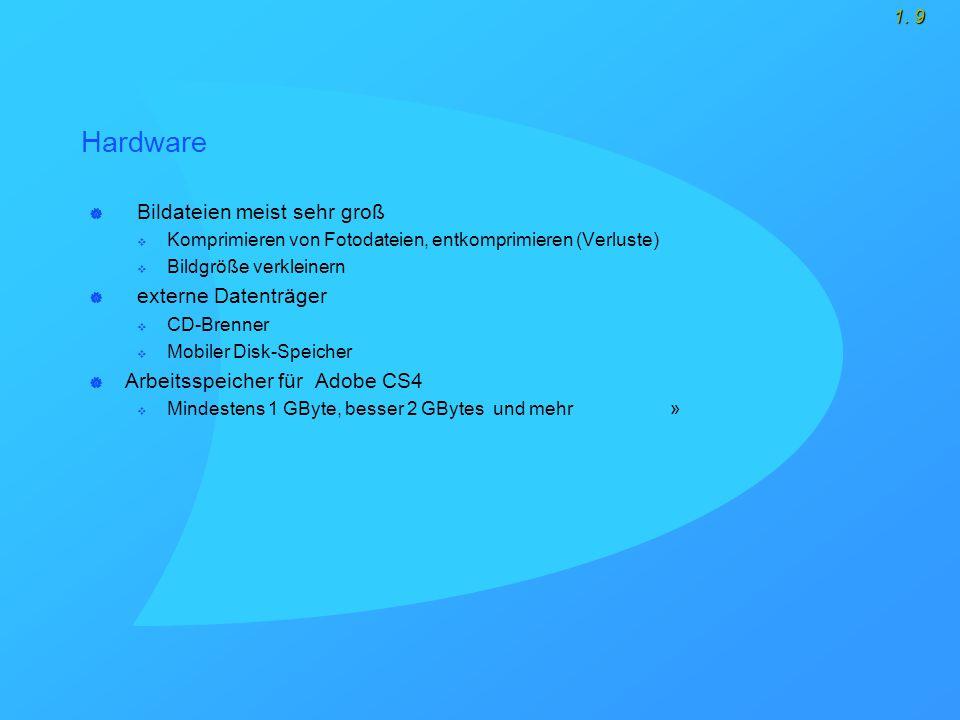 1. 9 Hardware  Bildateien meist sehr groß  Komprimieren von Fotodateien, entkomprimieren (Verluste)  Bildgröße verkleinern  externe Datenträger 