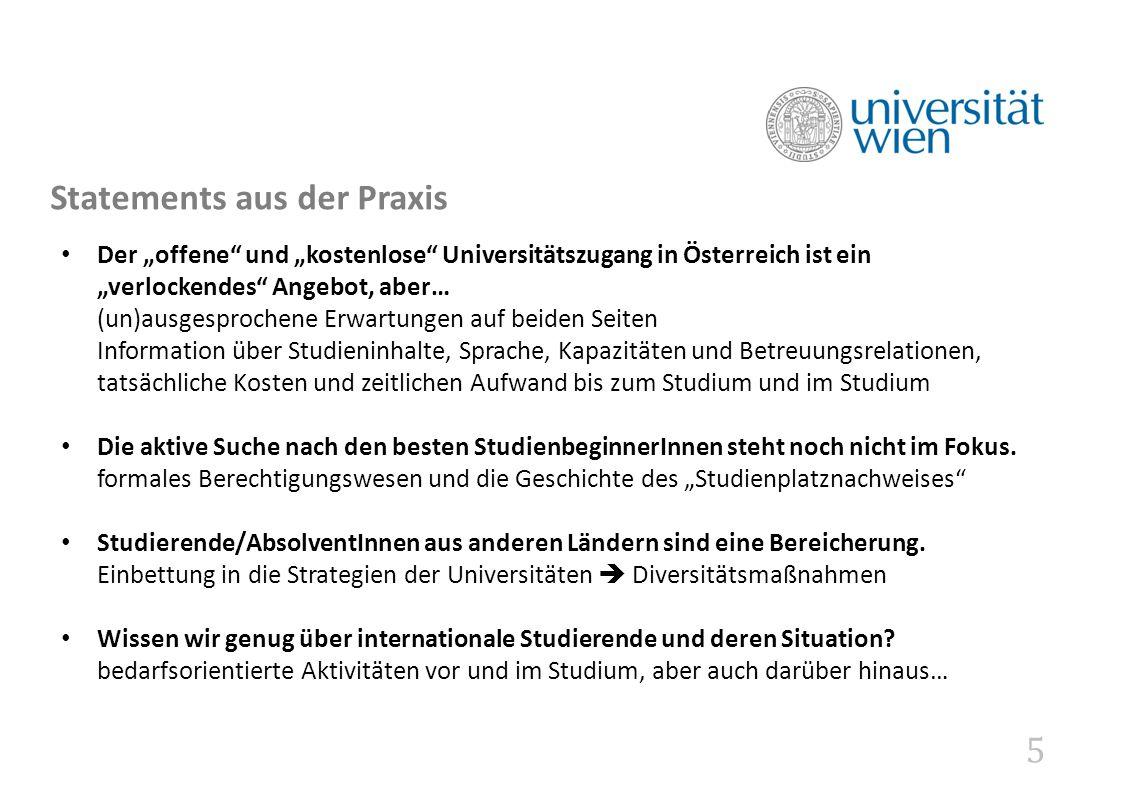 """5 Statements aus der Praxis Der """"offene"""" und """"kostenlose"""" Universitätszugang in Österreich ist ein """"verlockendes"""" Angebot, aber… (un)ausgesprochene Er"""