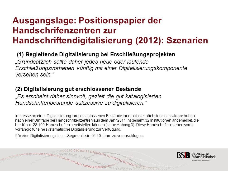 Ausgangslage: Positionspapier der Handschrifenzentren zur Handschriftendigitalisierung (2012): Szenarien (1) Begleitende Digitalisierung bei Erschließ