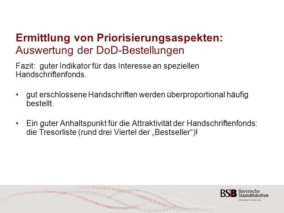 Ermittlung von Priorisierungsaspekten: Auswertung der DoD-Bestellungen Fazit: guter Indikator für das Interesse an speziellen Handschriftenfonds. gut