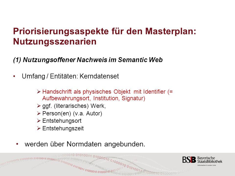 Priorisierungsaspekte für den Masterplan: Nutzungsszenarien (1) Nutzungsoffener Nachweis im Semantic Web Umfang / Entitäten: Kerndatenset  Handschrif
