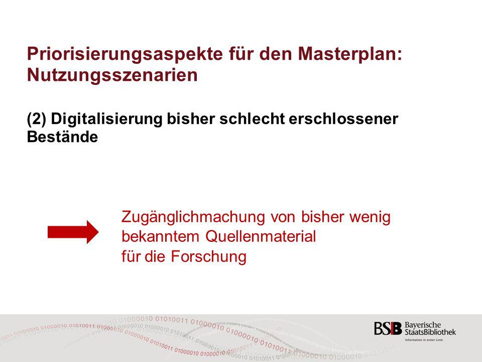 Priorisierungsaspekte für den Masterplan: Nutzungsszenarien (2) Digitalisierung bisher schlecht erschlossener Bestände Zugänglichmachung von bisher we