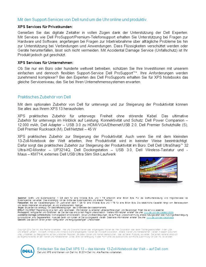 Dell - Internal Use - Confidential Mit den Support-Services von Dell rund um die Uhr online und produktiv. XPS Services für Privatkunden: Genießen Sie