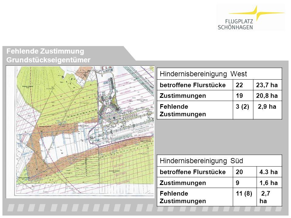 Hindernisbereinigung West betroffene Flurstücke2223,7 ha Zustimmungen1920,8 ha Fehlende Zustimmungen 3 (2) 2,9 ha Hindernisbereinigung Süd betroffene
