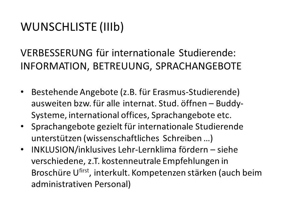 WUNSCHLISTE (IIIb) VERBESSERUNG für internationale Studierende: INFORMATION, BETREUUNG, SPRACHANGEBOTE Bestehende Angebote (z.B.