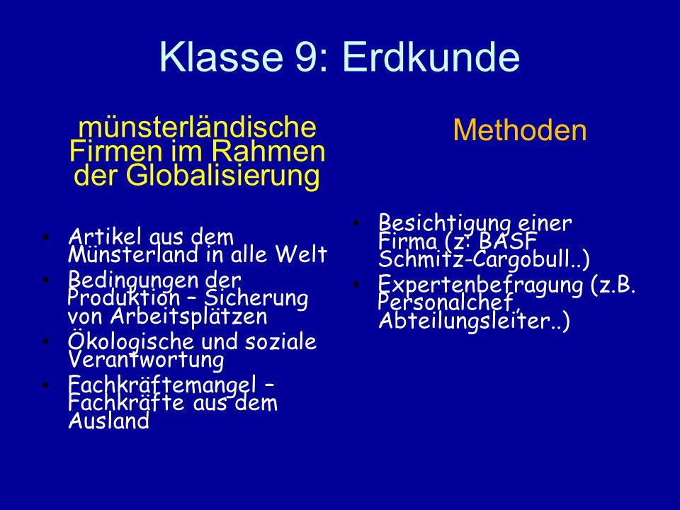 Klasse 9: Erdkunde münsterländische Firmen im Rahmen der Globalisierung Artikel aus dem Münsterland in alle Welt Bedingungen der Produktion – Sicherun