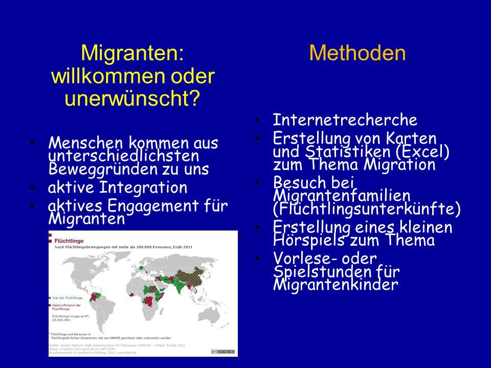 Migranten: willkommen oder unerwünscht? Menschen kommen aus unterschiedlichsten Beweggründen zu uns aktive Integration aktives Engagement für Migrante