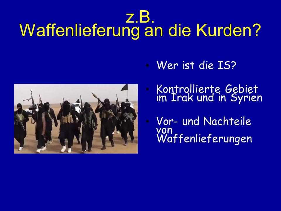 z.B. Waffenlieferung an die Kurden? Wer ist die IS? Kontrollierte Gebiet im Irak und in Syrien Vor- und Nachteile von Waffenlieferungen