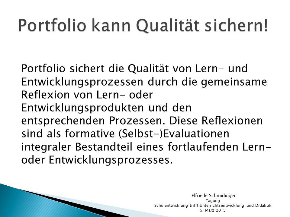 Portfolio sichert die Qualität von Lern- und Entwicklungsprozessen durch die gemeinsame Reflexion von Lern- oder Entwicklungsprodukten und den entspre