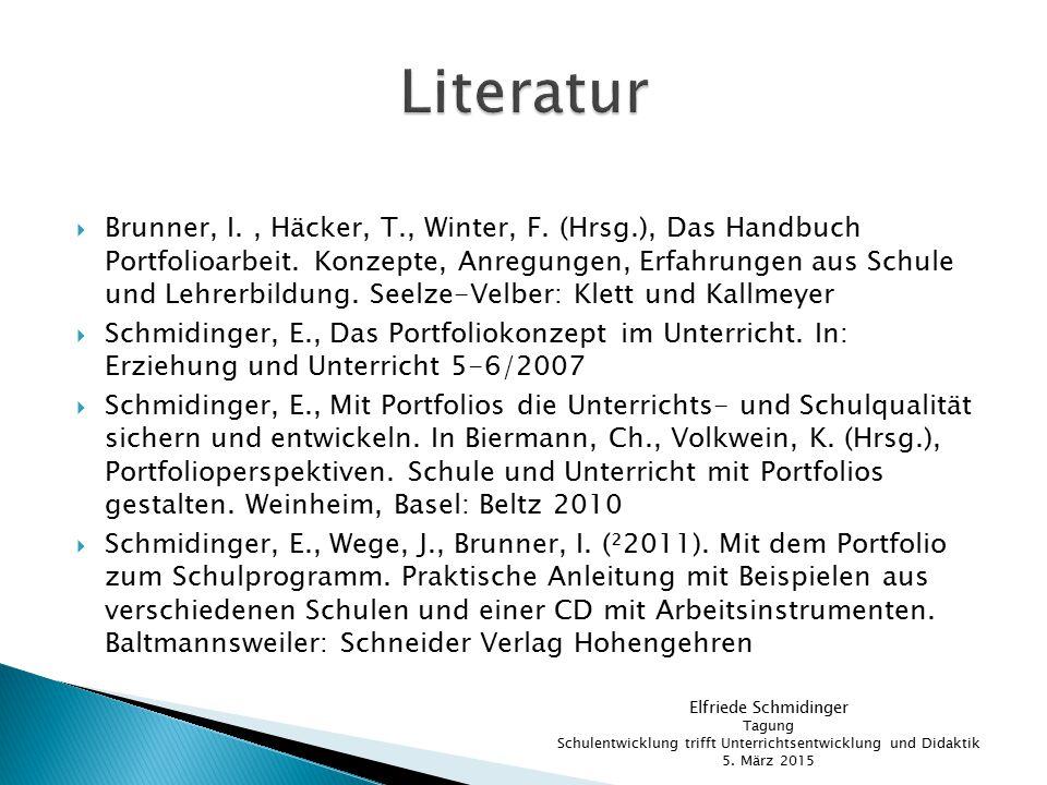 Brunner, I., Häcker, T., Winter, F. (Hrsg.), Das Handbuch Portfolioarbeit. Konzepte, Anregungen, Erfahrungen aus Schule und Lehrerbildung. Seelze-Ve