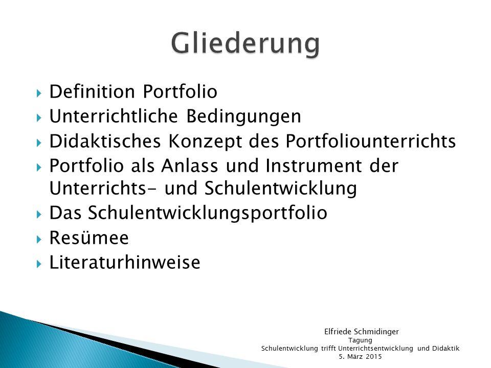  Definition Portfolio  Unterrichtliche Bedingungen  Didaktisches Konzept des Portfoliounterrichts  Portfolio als Anlass und Instrument der Unterri