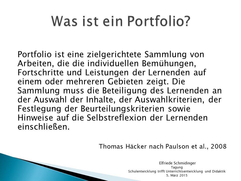 Portfolio ist eine zielgerichtete Sammlung von Arbeiten, die die individuellen Bemühungen, Fortschritte und Leistungen der Lernenden auf einem oder me