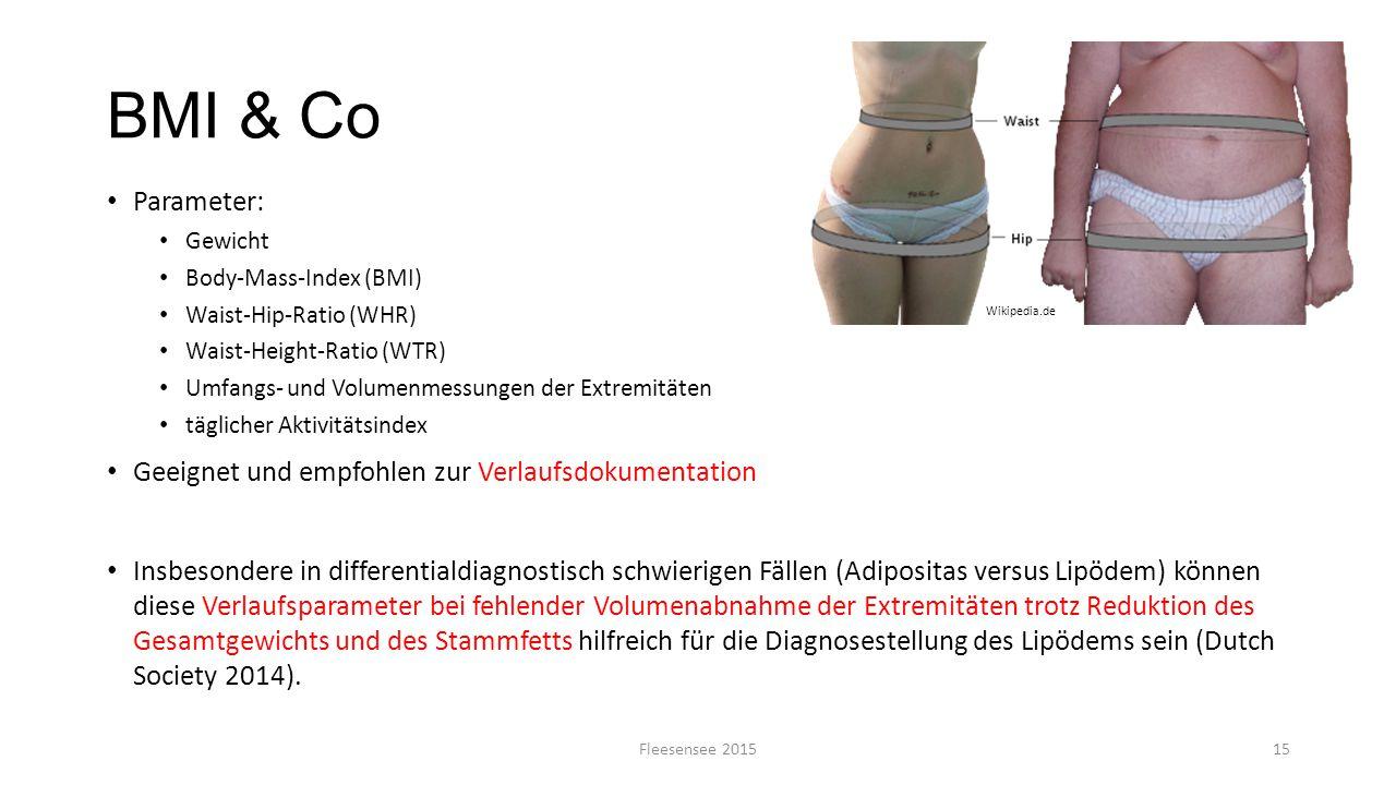 BMI & Co Parameter: Gewicht Body-Mass-Index (BMI) Waist-Hip-Ratio (WHR) Waist-Height-Ratio (WTR) Umfangs- und Volumenmessungen der Extremitäten täglic