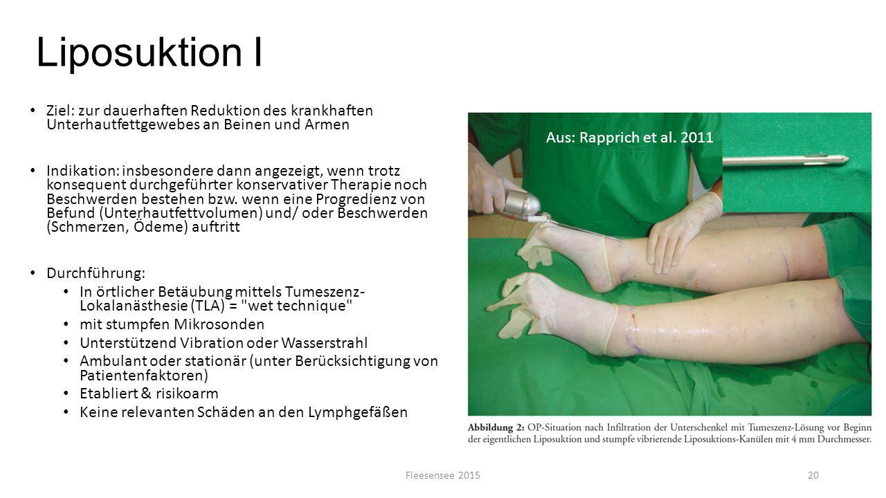 Liposuktion I Ziel: zur dauerhaften Reduktion des krankhaften Unterhautfettgewebes an Beinen und Armen Indikation: insbesondere dann angezeigt, wenn t