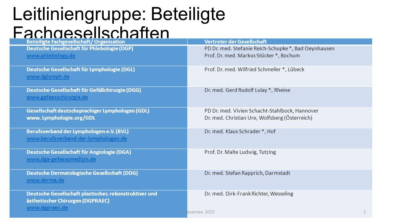 Leitliniengruppe: Beteiligte Fachgesellschaften Beteiligte Fachgesellschaft/ OrganisationVertreter der Gesellschaft Deutsche Gesellschaft für Phlebolo