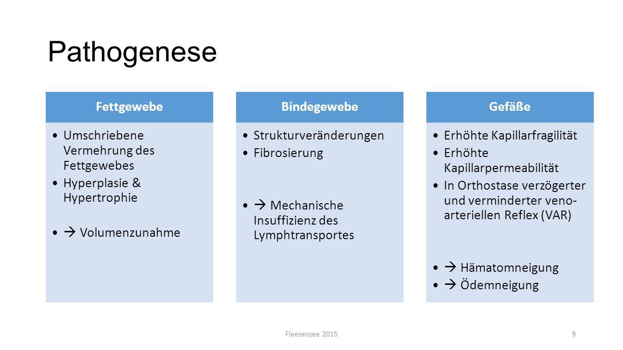 Pathogenese Fleesensee 20159 Fettgewebe Umschriebene Vermehrung des Fettgewebes Hyperplasie & Hypertrophie  Volumenzunahme Bindegewebe Strukturveränd