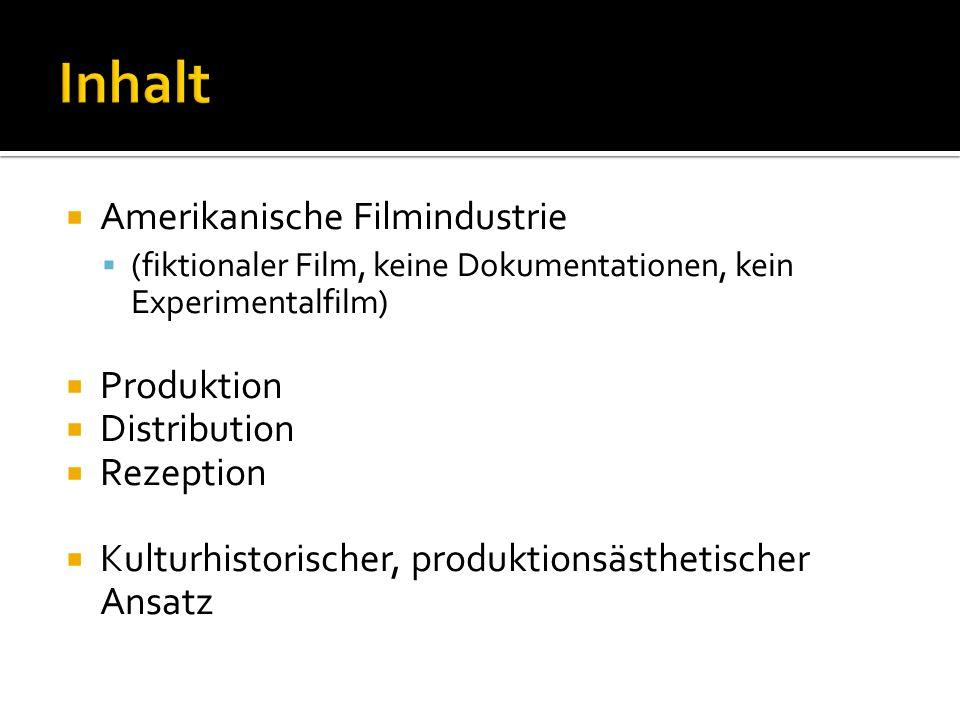  Amerikanische Filmindustrie  (fiktionaler Film, keine Dokumentationen, kein Experimentalfilm)  Produktion  Distribution  Rezeption  Kulturhisto