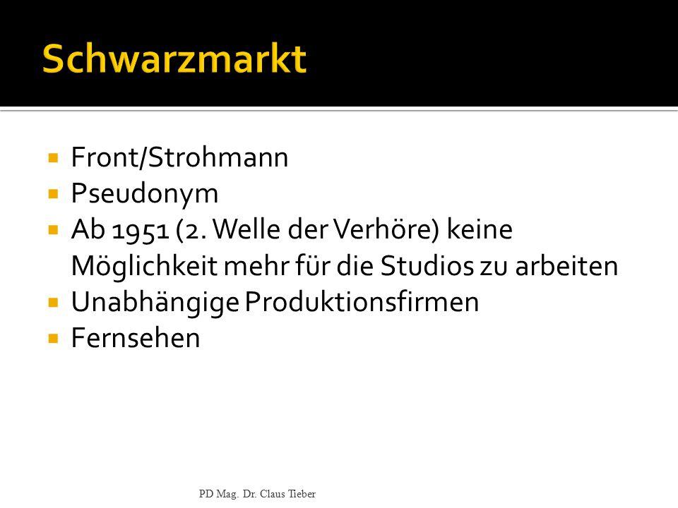  Front/Strohmann  Pseudonym  Ab 1951 (2. Welle der Verhöre) keine Möglichkeit mehr für die Studios zu arbeiten  Unabhängige Produktionsfirmen  Fe