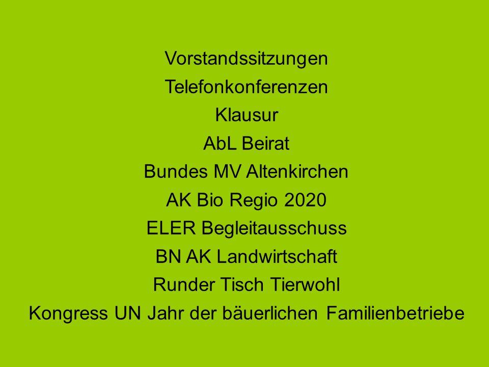 Vorstandssitzungen Telefonkonferenzen Klausur AbL Beirat Bundes MV Altenkirchen AK Bio Regio 2020 ELER Begleitausschuss BN AK Landwirtschaft Runder Ti