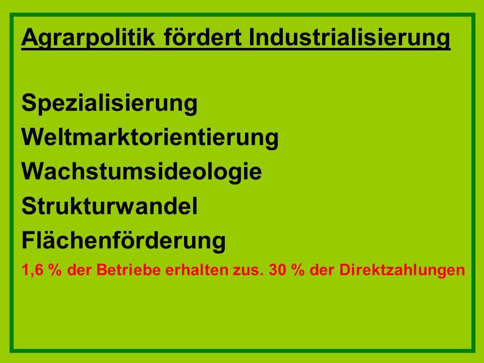 Agrarpolitik fördert Industrialisierung Spezialisierung Weltmarktorientierung Wachstumsideologie Strukturwandel Flächenförderung 1,6 % der Betriebe er
