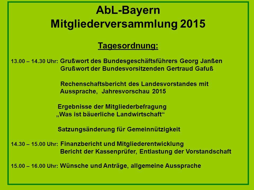 AbL-Bayern Mitgliederversammlung 2015 Tagesordnung: 13.00 – 14.30 Uhr: Grußwort des Bundesgeschäftsführers Georg Janßen Grußwort der Bundesvorsitzende