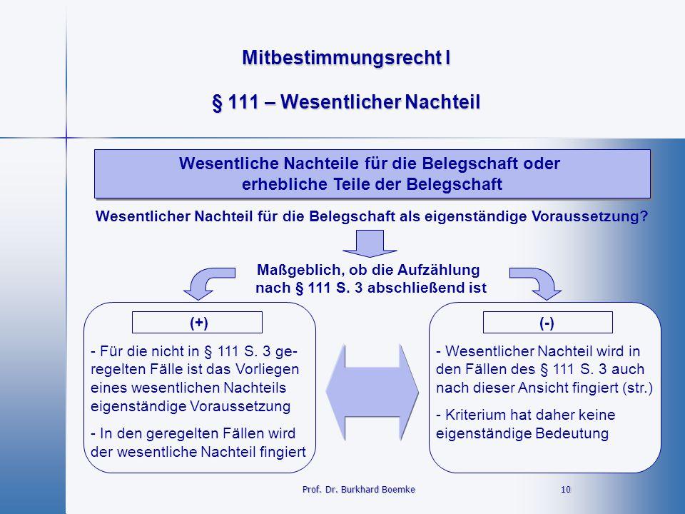 Mitbestimmungsrecht I 10Prof. Dr. Burkhard Boemke § 111 – Wesentlicher Nachteil Wesentliche Nachteile für die Belegschaft oder erhebliche Teile der Be