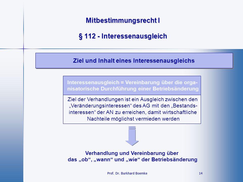 Mitbestimmungsrecht I 14 14 § 112 - Interessenausgleich Ziel und Inhalt eines Interessenausgleichs Prof. Dr. Burkhard Boemke Interessenausgleich = Ver