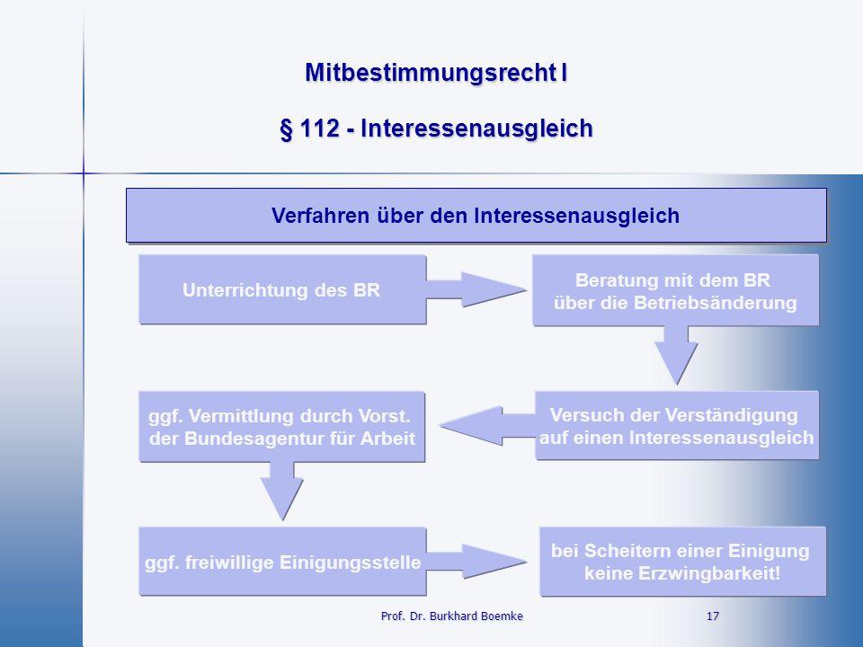 Mitbestimmungsrecht I 17 17 § 112 - Interessenausgleich Verfahren über den Interessenausgleich Prof. Dr. Burkhard Boemke Unterrichtung des BR Beratung
