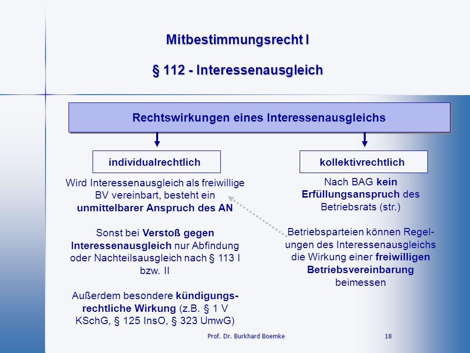 Mitbestimmungsrecht I 18 18 § 112 - Interessenausgleich Rechtswirkungen eines Interessenausgleichs Prof. Dr. Burkhard Boemke individualrechtlichkollek