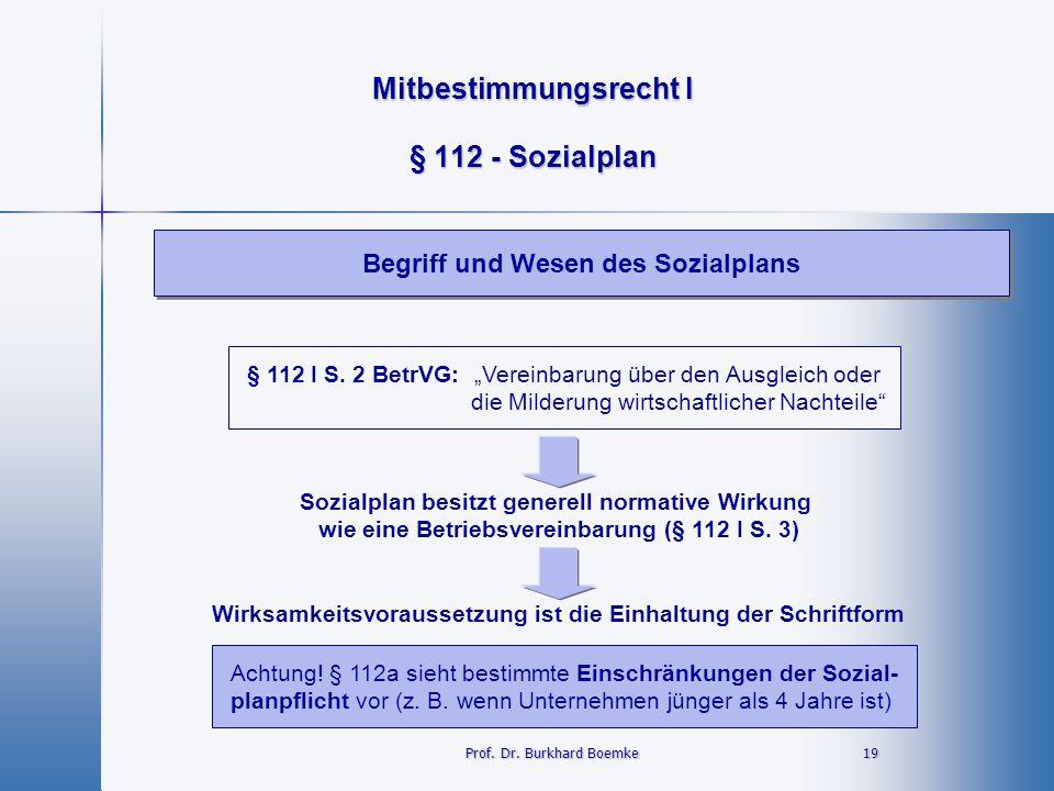 """Mitbestimmungsrecht I 19 19 § 112 - Sozialplan Begriff und Wesen des Sozialplans Prof. Dr. Burkhard Boemke § 112 I S. 2 BetrVG: """"Vereinbarung über den"""