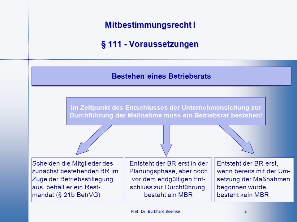 Mitbestimmungsrecht I 2 Prof. Dr. Burkhard Boemke § 111 - Voraussetzungen Bestehen eines Betriebsrats Im Zeitpunkt des Entschlusses der Unternehmensle