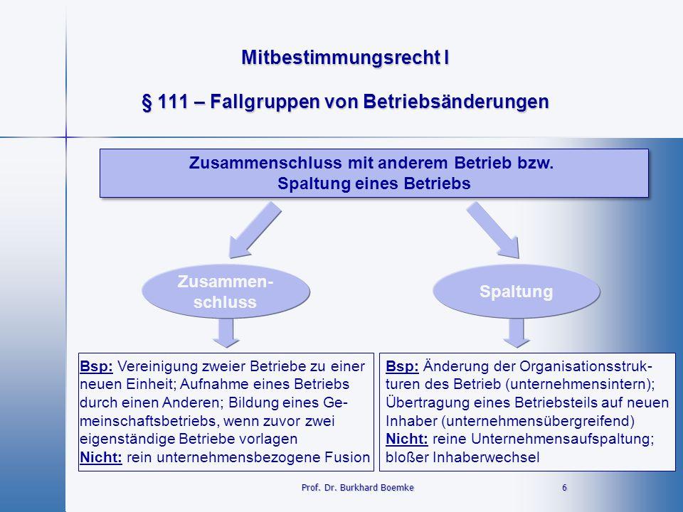 Mitbestimmungsrecht I 6 Prof. Dr. Burkhard Boemke § 111 – Fallgruppen von Betriebsänderungen Zusammenschluss mit anderem Betrieb bzw. Spaltung eines B