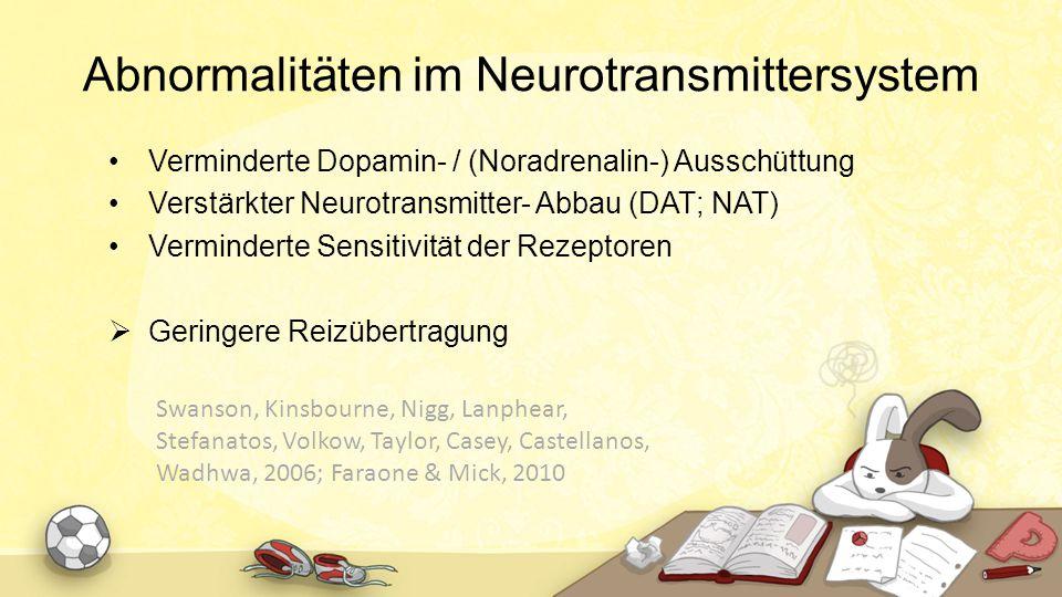 Abnormalitäten im Neurotransmittersystem Verminderte Dopamin- / (Noradrenalin-) Ausschüttung Verstärkter Neurotransmitter- Abbau (DAT; NAT) Vermindert