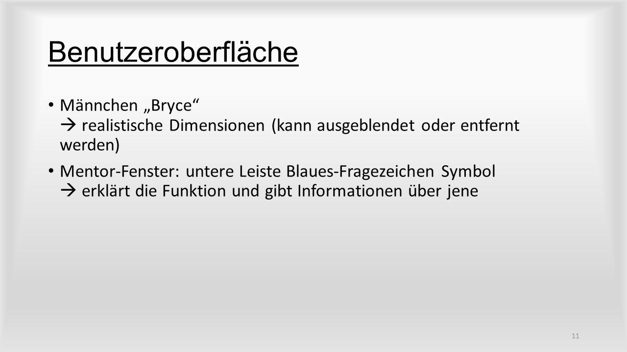 """Benutzeroberfläche Männchen """"Bryce  realistische Dimensionen (kann ausgeblendet oder entfernt werden) Mentor-Fenster: untere Leiste Blaues-Fragezeichen Symbol  erklärt die Funktion und gibt Informationen über jene 11"""