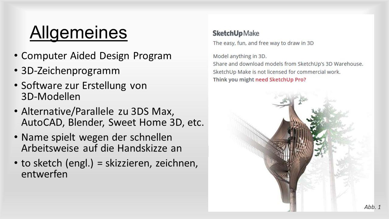 Allgemeines Computer Aided Design Program 3D-Zeichenprogramm Software zur Erstellung von 3D-Modellen Alternative/Parallele zu 3DS Max, AutoCAD, Blender, Sweet Home 3D, etc.