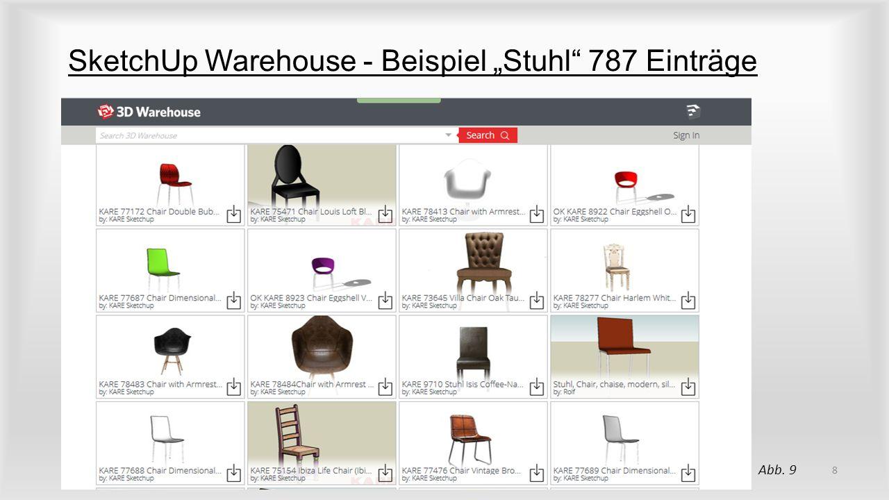 """SketchUp Warehouse - Beispiel """"Stuhl"""" 787 Einträge 8 Abb. 9"""