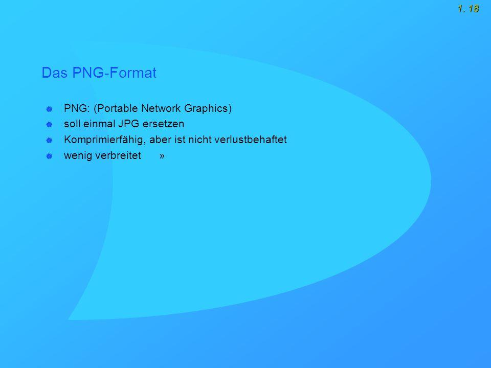1. 18 Das PNG-Format  PNG: (Portable Network Graphics)  soll einmal JPG ersetzen  Komprimierfähig, aber ist nicht verlustbehaftet  wenig verbreite