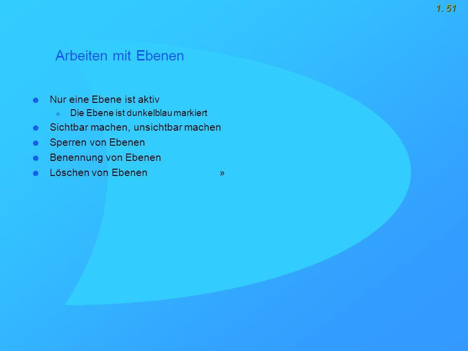 1. 51 Arbeiten mit Ebenen  Nur eine Ebene ist aktiv  Die Ebene ist dunkelblau markiert  Sichtbar machen, unsichtbar machen  Sperren von Ebenen  B