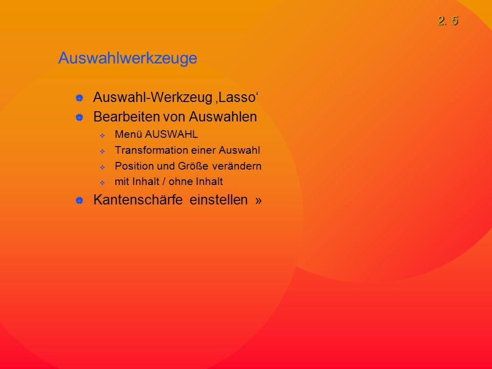 2. 5  Auswahl-Werkzeug 'Lasso'  Bearbeiten von Auswahlen  Menü AUSWAHL  Transformation einer Auswahl  Position und Größe verändern  mit Inhalt /