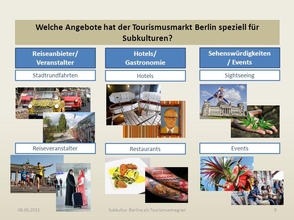 Welche Angebote hat der Tourismusmarkt Berlin speziell für Subkulturen? 08.06.2015Subkultur Berlins als Tourismusmagnet9 Reiseanbieter/ Veranstalter H