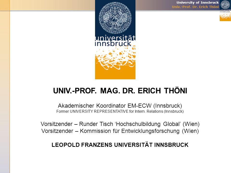 University of Innsbruck Univ.-Prof. Dr. Erich Thöni UNIV.-PROF. MAG. DR. ERICH THÖNI Akademischer Koordinator EM-ECW (Innsbruck) Former UNIVERSITY REP
