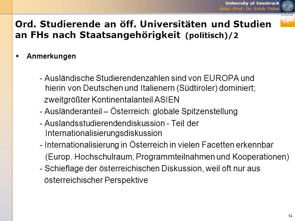 University of Innsbruck Univ.-Prof. Dr. Erich Thöni Ord. Studierende an öff. Universitäten und Studien an FHs nach Staatsangehörigkeit (politisch)/2 